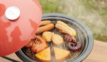 現在販売中! おしゃれな家庭用 陶器製スモーカー (赤) 23cm 1.2L オリジナルレシピ・温度計付 アウトドア・キャンプでも大活躍!