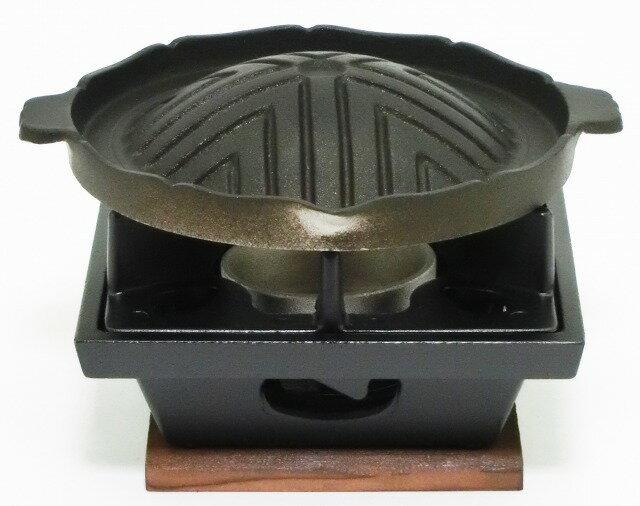 日本製 ご家庭でも楽しめる プロ仕様 懐石 匠の技 焼肉 ジンギスカン グリル + 五徳が両面使える いろりコンロ 火皿 付 10セット 固形燃料 使用 タイプ:前田家 MAEDAYA