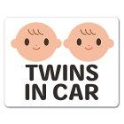赤ちゃん双子笑顔ピクトグラムフルカラー【TWINSINCAR】車マグネットステッカー