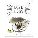 【車ステッカー】LOVEDOGS【Oyster Pug】犬好き オイスターパグ 車マグネットステッカー ゆうパケット対応205円〜