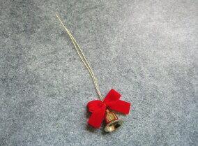 【花材】装飾品・クリスマス リボンベル15mm1袋6個入り