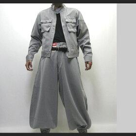 【寅壱/寅一】ピンストライプライダースジャケット&超超ロング八分ズボン上下セット4309シリーズ37.シルバー(4309s554418)