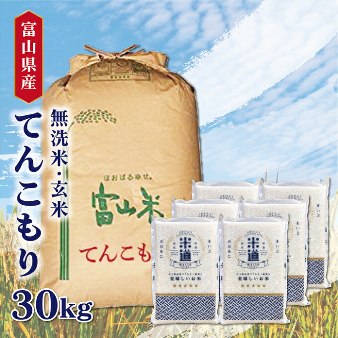 米 30kg 送料無料 白米 無洗米 てんこもり 5kg×6 新米 令和二年産 富山...