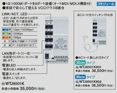 【最安値挑戦中!最大35倍】 電設資材 パナソニック WTJ8501K マルチメディアポート用スイッチングHUB(10/100/1G [∽]