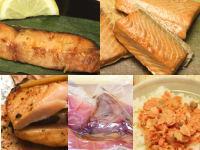 [退職祝い]【鮭づくし5点セット】新潟村上の塩引き鮭・鮭の焼漬・鮭の味噌漬・鮭茶漬け・塩引き鮭カマのセットをギフトに!<送料無料!>【楽ギフ_包装】