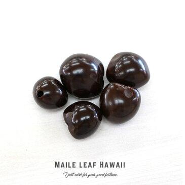ククイ キャンドルナッツ 【0035】 5個セット(5個入)ダークブラウン くくい くくいなっつ ブラック ハワイアンリボンレイ ククイナッツ ヘアゴム アクセサリー