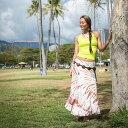 【送料無料】ハワイアン タイダイ スカート 染色 マルチ ロング レーヨン ホワイト ブラウン ブルー グリーン 4色 レディース ビーチファッション ハワイ 手染め リゾートスタイル