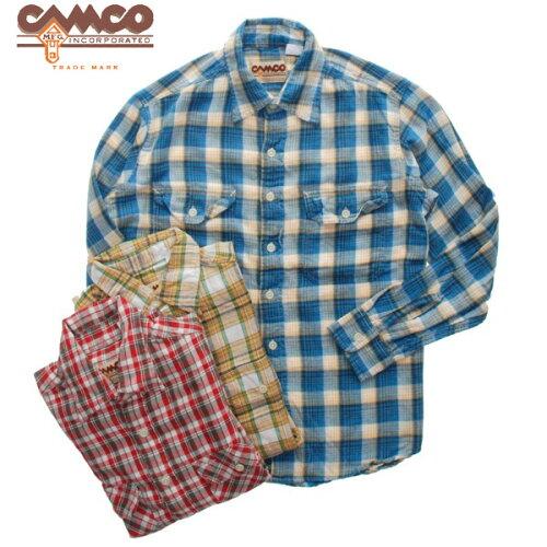 CAMCO 長袖 ライトツイル チェックシャツ 長袖シャツ メンズ