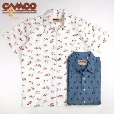 送料無料 CAMCO【カムコ】 半袖 プリント オープンカラー シャツ メンズ(男性用) 【smtb-m】