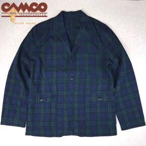送料無料CAMCO【カムコ】ブラックワッチリネンコットンテーラードジャケットメンズ(男性用)【smtb-m】