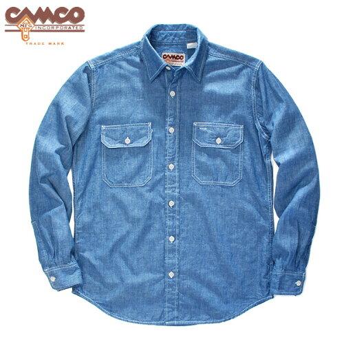 ベストセラー 送料無料 CAMCO長袖 シャンブレーシャツ ワークシャツ フラップポケット仕...