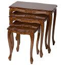 ロココ調イタリア家具ネストテーブル3台セット 幅56cm/ タロッコ