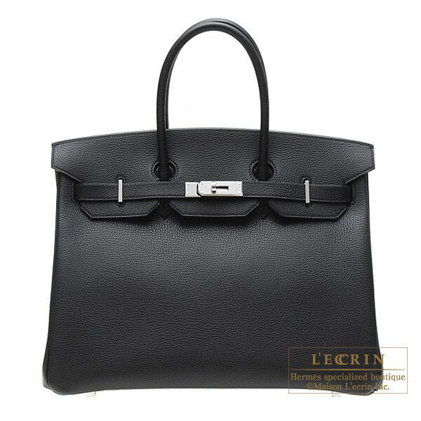 Hermes Birkin bag 35 Black Vache liegee leather Silver hardware