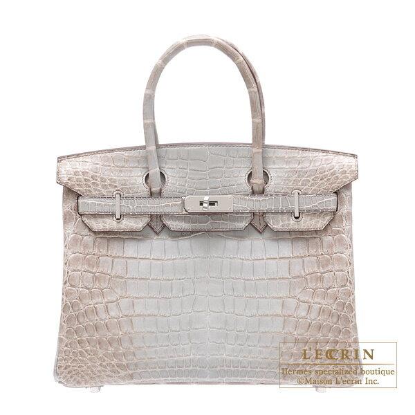 에르메스 버 킨 30 히말라야 회색 악어 ニロティカスマット 실버 브래킷 Hermes Birkin bag 30 Himalaya Gray Matt niloticus crocodile skin Silver hardware
