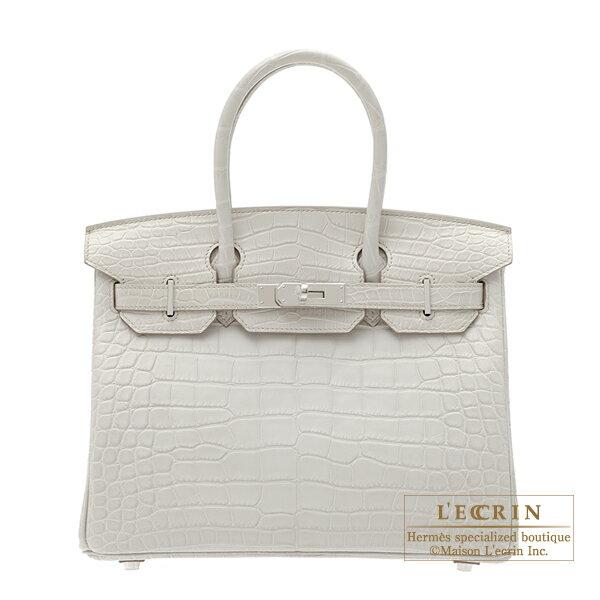 에르메스 버 킨 30 ベトン 크 로커 다 일 악어 매트 실버 브래킷 Hermes Birkin bag 30 Beton/Beton light grey Matt alligator crocodile skin Silver hardware