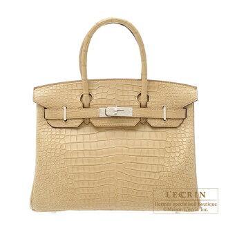 에르메스 버 킨 30 プシエール 악어 ポロサスマット 실버 브래킷 Hermes Birkin bag 30 Poussiere/Dust Matt porosus crocodile skin Silver hardware