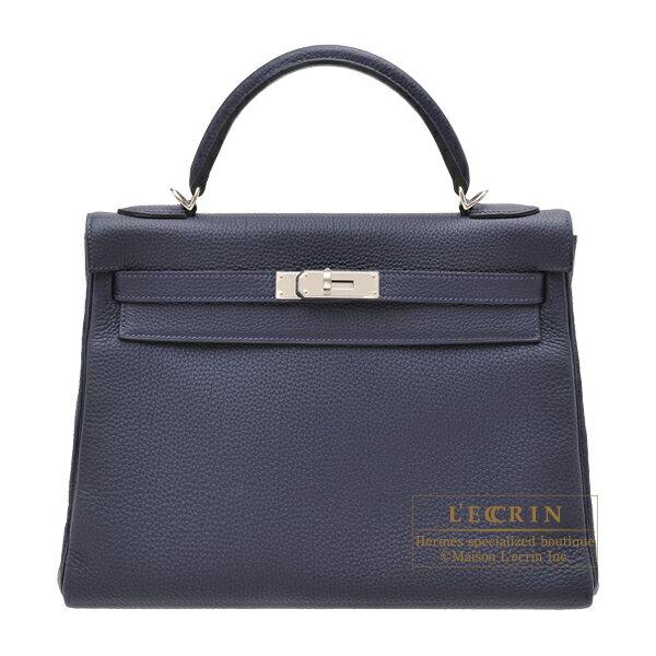 エルメス ケリー32/内縫い ブルーニュイ トゴ シルバー金具 HERMES Kelly bag 32 Retourne Blue nuit Togo leather Silver hardware