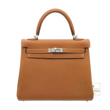 エルメス ケリー25/内縫い ゴールド トゴ シルバー金具 HERMES Kelly bag 25 Retourne Gold Togo leather Silver hardware