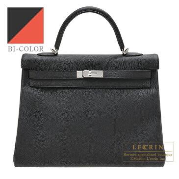 エルメス パーソナルケリー35/内縫い ブラック/カプシーヌ トゴ シルバー金具 HERMES Personal Kelly bag 35 Retourne Black/Capucine Togo leather Silver hardware
