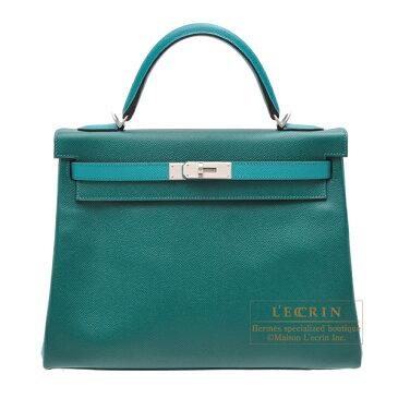 エルメス パーソナルケリー32/内縫い マラカイト/ブルーパオン ヴォーエプソン マットシルバー金具 HERMES Personal Kelly bag 32 Retourne Malachite/Blue paon Epsom leather Matt silver hardware