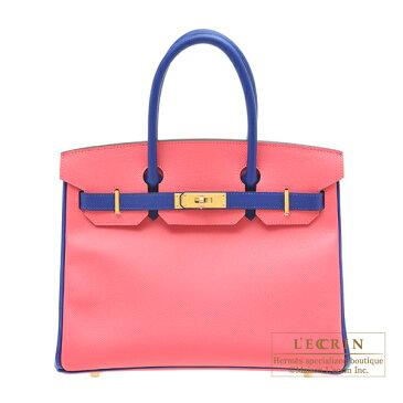 エルメス パーソナルバーキン30 ローズアザレ/ブルーエレクトリック ヴォーエプソン ゴールド金具 HERMES Personal Birkin bag 30 Rose azalee/Blue electric Epsom leather Gold hardware