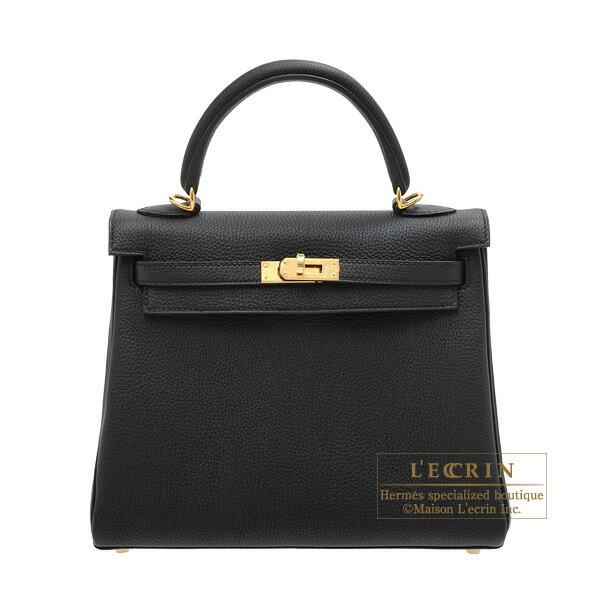 レディースバッグ, ハンドバッグ  25 HERMES Kelly bag 25 Retourne Black Togo leather Gold hardware