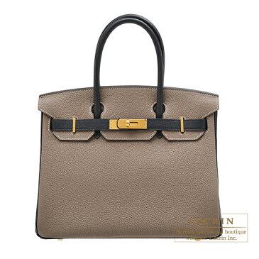 エルメス パーソナルバーキン30 エトゥープ/ブラック トゴ ゴールド金具HERMES Personal Birkin bag 30 Etoupe grey/Black Togo leather Gold hardware
