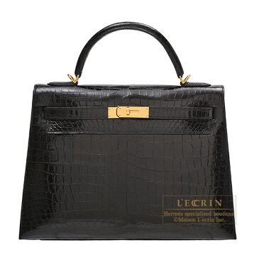 エルメス ケリー32/外縫い ブラック クロコダイル ポロサス ゴールド金具 HERMES Kelly bag 32 Sellier Black Porosus crocodile skin Gold hardware