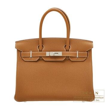 エルメス バーキン30 ゴールド トゴ シルバー金具 HERMES Birkin bag 30 Gold Togo leather Silver hardware
