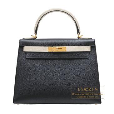 エルメス パーソナルケリー28/外縫い ブラック/クレ トゴ ゴールド金具 HERMES Personal Kelly bag 28 Sellier Black/Craie Togo leather Gold hardware