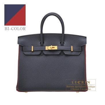 エルメス パーソナルバーキン25 ブルーニュイ/ルージュグレナ トゴ マットゴールド金具 HERMES Personal Birkin bag 25 Blue nuit/Rouge grenat Togo leather Matt gold hardware