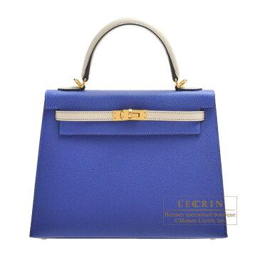 エルメス パーソナルケリー25/外縫い ブルーエレクトリック/クレ ヴォーエプソン ゴールド金具 HERMES Personal Kelly bag 25 Sellier Blue electric/Craie Epsom leather Gold hardware