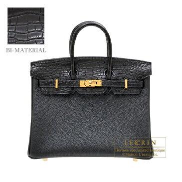 エルメス バーキンタッチ25 ブラック トゴ/クロコダイル アリゲーターマット ゴールド金具 HERMES Birkin Touch bag 25 Black Togo leather/Matt alligator crocodile skin Gold hardware