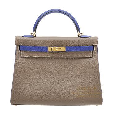 エルメス パーソナルケリー32/内縫い エトゥープ/ブルーエレクトリック ヴォーエプソン ゴールド金具 HERMES Personal Kelly bag 32 Retourne Etoupe grey/Blue electric Epsom leather Gold hardware