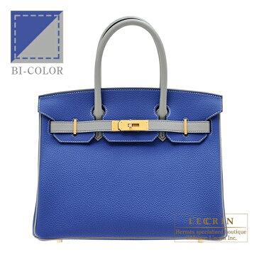 エルメス パーソナルバーキン30 ブルーエレクトリック/グリムエット トゴ マットゴールド金具 HERMES Personal Birkin bag 30 Blue electric/Gris mouette Togo leather Matt gold hardware