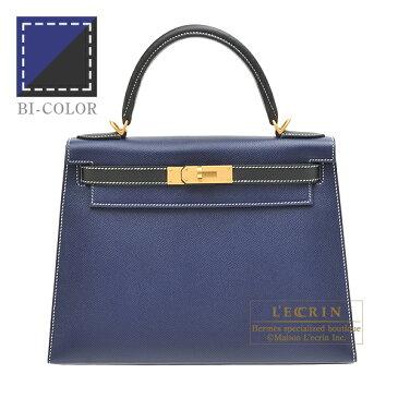 エルメス パーソナルケリー28/外縫い ブルーサフィール/ブラック ヴォーエプソン マットゴールド金具 HERMES Personal Kelly bag 28 Sellier Blue saphir/Black Epsom leather Matt gold hardware