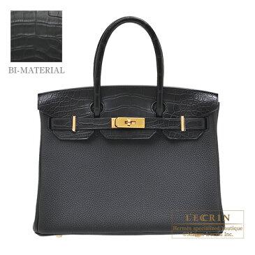 エルメス バーキンタッチ30 ブラック トゴ/クロコダイル アリゲーターマット ゴールド金具 HERMES Birkin Touch bag 30 Black Togo leather/Matt alligator crocodile skin Gold hardware