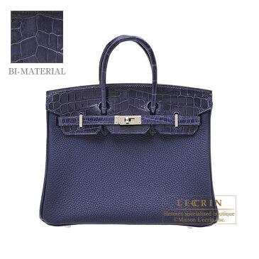 エルメス バーキンタッチ25 ブルーアンクル トゴ/クロコダイル ニロティカス シルバー金具 HERMES Birkin Touch bag 25 Blue encre Togo leather/Niloticus crocodile skin Silver hardware