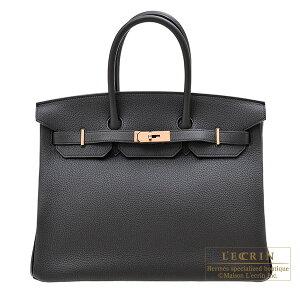 Hermes Birkin 35黑色多哥皮革玫瑰金配件HERMES Birkin 35黑色多哥皮革玫瑰金配件