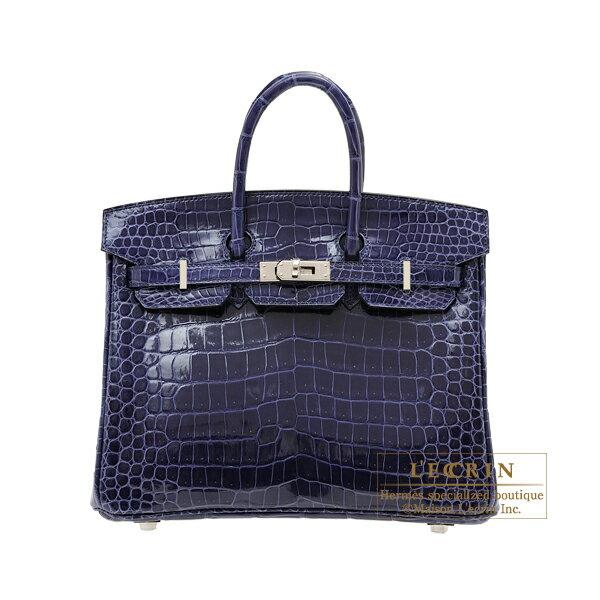 エルメス バーキン25 ブルーアンクル クロコダイル ポロサス シルバー金具 HERMES Birkin bag 25 Blue encre Porosus crocodile skin Silver hardware