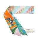 エルメス ツイリー ジャガーケツァール ローズ/ベージュ/オレンジ シルク HERMES Twilly Jaguar Quetzal Rose/Beige/Orange Silk・・・