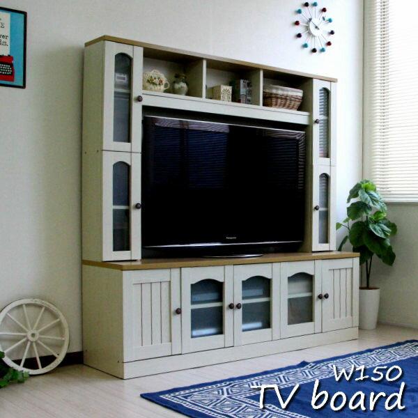 テレビ台 ハイタイプ カントリー 壁面家具 リビング壁面収納 50インチ対応 TV台 テレビラック ゲート型AVボード 150cm幅 ホワイト SAV055 送料無料