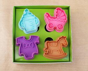 お手軽にかわいいクッキーが抜ける4種類のセットです。【silikoMart】ミニクッキーカッター ベ...