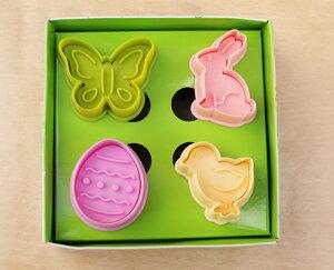 お手軽にかわいいクッキーが抜ける4種類のセットです。【silikoMart】ミニクッキーカッター イ...