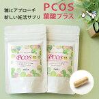 PCOS 葉酸 プラス サプリメント 2袋セット (約2ヶ月分) カイロイノシトール配合 ピニトール 糖質 ビタミンE ビタミンC 亜鉛 鉄分 カルシウム 妊活 サプリ 無添加 オーガニック