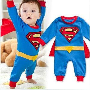 スーパーマンコスチューム 80サイズ マント付き(取り外し可) 赤ちゃん用 ベビー ロンパース コスプレ 衣装 仮装 ハロウィン クリスマス(80) コスチューム ロンパース ベビー カバーオール インスタ映え 可愛い 人気 イベント