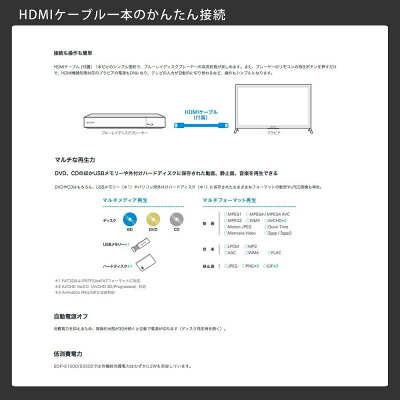リージョンフリーDVDプレーヤーSONYBDP-S3500BDプレーヤー無線LAN搭載HDMIケーブル・日本語説明書付