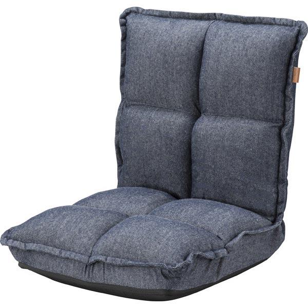 【3/16 9:59迄スマホエントリーで+P10倍】 東谷 カックンリクライナー 【幅38×奥行43~52×高さ47~23cm】 コンパクト もこもこ座椅子 折りたたみ式 枕座椅子 ヴィンテージテイスト 北欧 おしゃれ 新生活 一人用座椅子 一人暮らし RKC-173DM 座椅子 デニム調 東谷