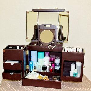 【オーガニックのコットンタオルプレゼント】 三面鏡&拡大鏡付きのメイクボックス 鏡付き 木製 …