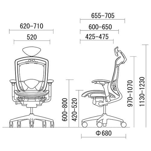 オカムラコンテッサCM51ABスタンダードメッシュチェア小型ヘッドレストフレームカラー:ポリッシュボディカラー:ネオブラック背:スタンダードメッシュシート:スタンダードメッシュアジャストアーム